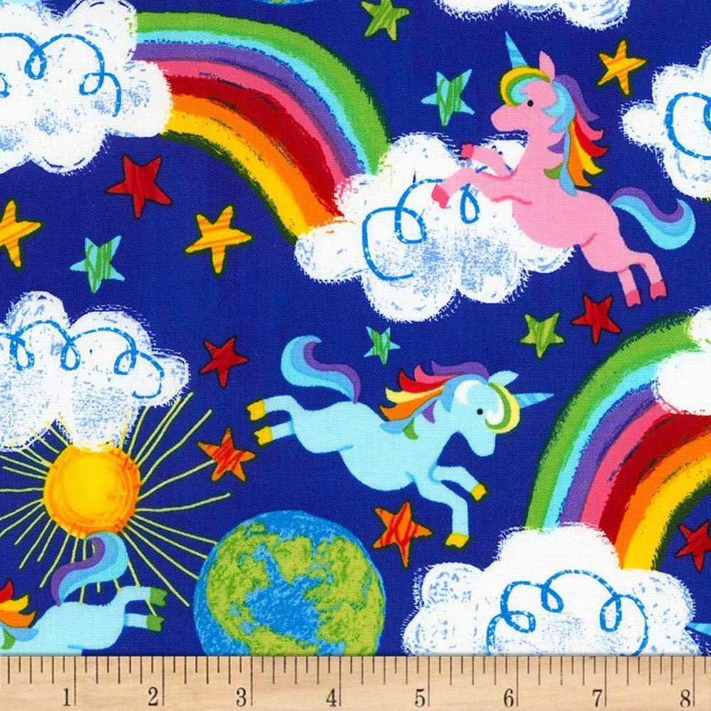 Timeless Treasures Crayon Party Rainbows & Unicorns Fabric, Royal, Fabric By The Yard