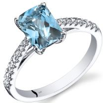 14K White Gold Swiss Blue Topaz Ring Radiant Cut 1.75 Carats Sizes 5 to 9