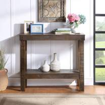 HQ-QILI Farmhouse Entryway Accent Table, U_Style Rustic Sqaure Accent Table Console Table Sofa Hallway Table with Bottom Shelf for Living Room Wavy Edge Sofa Table Pine Wood 39 Inch - Dark Brown