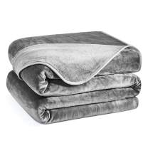 Charm Heart Luxury Fleece Blanket,Winter Super Soft Warm 350GSM Blankets Thick Blanket for Home Bed Blankets Queen Size, Smoke Grey 90×90 in