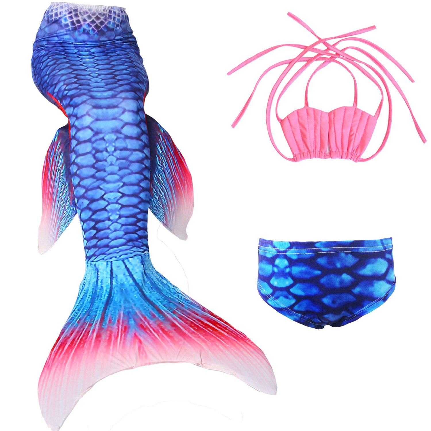 Kokowaii Fancy Girl's Mermaid Tail Swimsuit Bathingsuit Sea-Maid Bikini