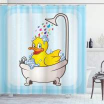 "Ambesonne Duck Shower Curtain, Cartoon Character Taking a Bath Colorful Drops Blue Backdrop with Dots Kids Nursery, Cloth Fabric Bathroom Decor Set with Hooks, 84"" Long Extra, Yellow Blue"