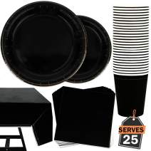 101 Piece Jet Black Party Supplies Set Including Plates, Cups, Napkins and Tablecloth, Serves 25