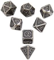 Antique Iron Metal Dice with Gear Number DND Polyhedral Dice 7pcs Set for Dungeons and Dragons RPG MTG Table Games D&D Pathfinder Shadowrun and Math Teaching