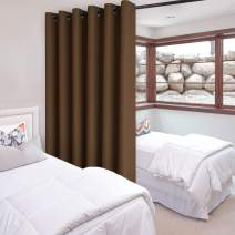 DWCN Total Privacy Room Divider Blackout Curtain - Thermal Curtains for Patio Door, Living Room, Bedroom Partition and Shared Office Space, 1 Grommet Curtain Panel, 8.3ft Wide x 7ft Tall, Brown