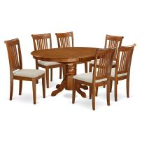 East-West Furniture AVPO7-SBR-C dining table set- 6 Wonderful chairs for dining room - A Stunning kitchen table- Microfiber Upholstery seat and Saddle Brown Finnish Butterfly Leaf kitchen table