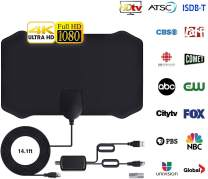 Newest Digital HD TV Antenna, 60-120 Miles Range, 14.56ft Coax Cable Indoor TV Antenna Support 4K 1080p & All Older TV's Powerful HDTV Amplifier Signal Booster