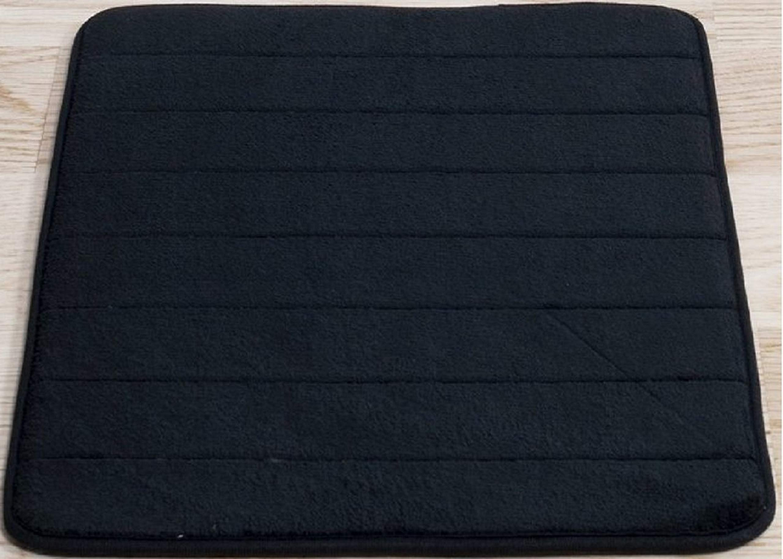 Black Memory Foam Bath Mat Incredibly Soft And Absorbent Rug Cozy Velvet Non Slip Mats Use For Kitchen Or Bathroom 17 Inch X 24 Inch Black