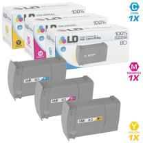 LD Remanufactured Ink Cartridge Replacements for HP 80 (Cyan, Magenta, Yellow, 3-Pack)