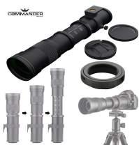 Commander Optics 420-800mm f/8.3-16 HD Telephoto Zoom Lens for Canon EOS 90D, 80D, 77D, 70D, 60D, 7D, 6D, 6D Mark II, 5D Mark IV, 7D Mark II, T7i, T7, T6s, T6i, T6, T5i, T5, SL2 & SL3 DSLR Cameras