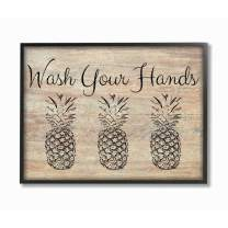 Stupell Industries Wash Your Hands Pineapple Black Framed Wall Art, 11 x 14, Design by Artist Linda Woods