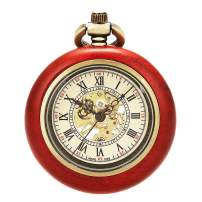 ManChDa Retro Brown Steampunk Mechanical Hand Wind Skeleton Pocket Watch Roman Numerals Open Face Copper Wooden with Chain Gift Box
