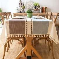 """Bringsine Solid Embroidery Lattice Tassel Tablecloth Cotton Linen Dust-Proof Table Cloth Cover for Kitchen Dinning Tabletop Decoration(Square, 55""""X 79"""",Coffee & Blue)"""