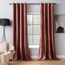 MIULEE Elegant Velvet Curtains Dry Rose Pink Extra Long Grommet Curtains Thermal Insulated Soundproof Room Darkening Blackout Drapes for Girls & Ladys Living Room/Bedroom Decor 52 x 108 Inch 2 Panels