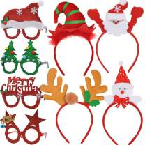 JOYIN 4 Pcs Christmas Headbands and 4 Pcs Christmas Party Glasses Frames, Bundle Set of 8 for Holiday Season Parties Favors, Christmas Photo Booth Props (One Size Fits All)