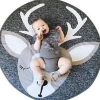 Abreeze Elk Nursery Rug Play Mat Round Carpet Cartoon Home Room Decor 35X37 inches