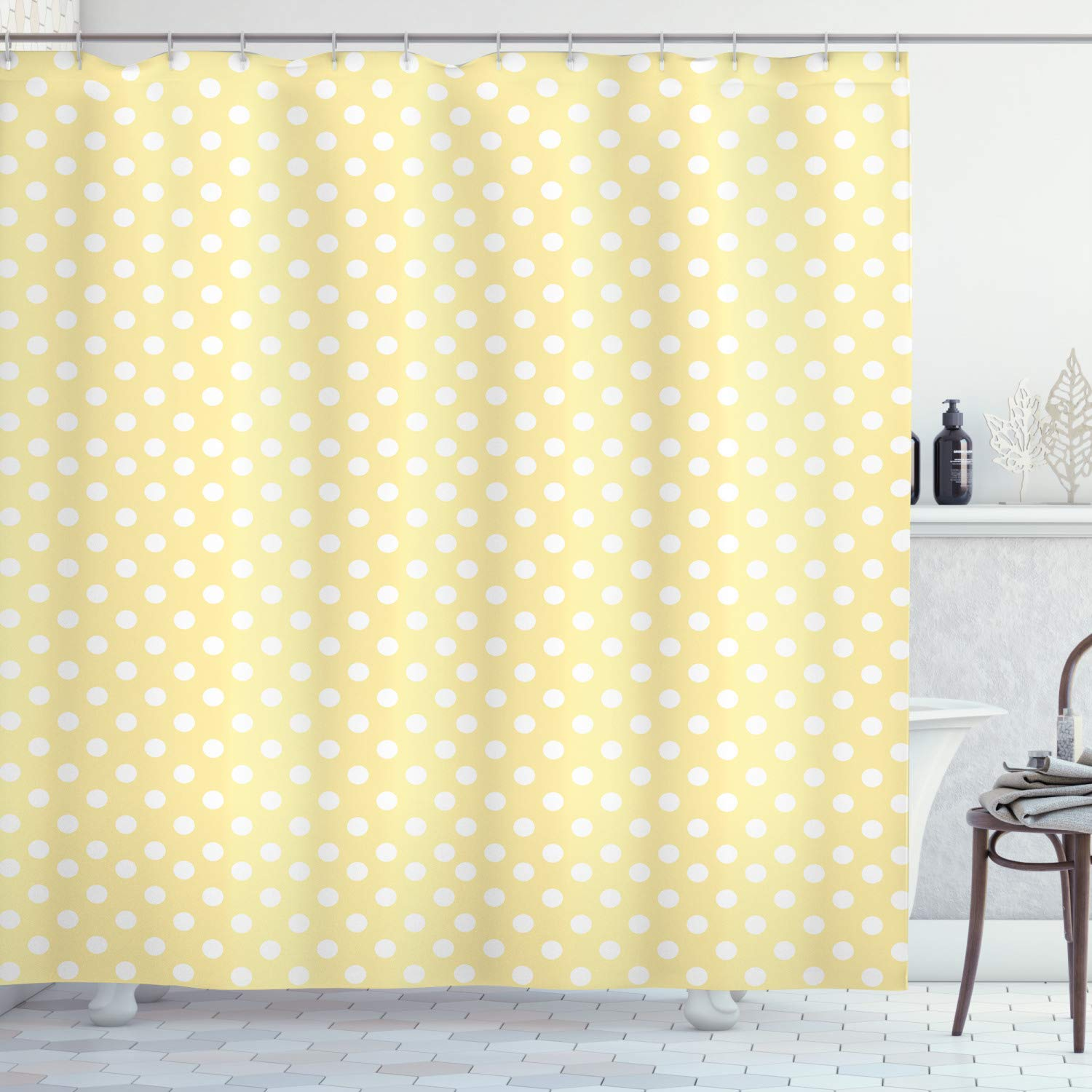 """Ambesonne Polka Dots Shower Curtain, Nostalgic Pastel Polka Dots in Never Ending Path Vintage Old-Fashion Artwork, Cloth Fabric Bathroom Decor Set with Hooks, 75"""" Long, Yellow White"""