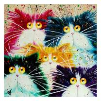 """DIY Paint by Numbers Kit for Adults Kids Beginner Canvas Oil Painting Kits with Acrylic Pigment & 3 Brushes 16"""" x 20"""" Five Colorful Cat"""