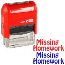 Missing Homework - ExcelMark Self-Inking Two-Color Rubber Teacher Stamp - Perfect for Grading Homework - Red and Blue Ink