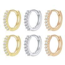 14k Gold/Silver/Rose Gold Plated Huggie Earrings CZ Tiny Small Hoop Earrings Heart Lock Spike Cross Dangle Huggies Cuff Earrings Minimal Jewelry for Women Girls