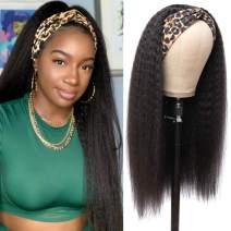 Bestsojoy Kinky Straight Headband Human Hair Wigs for Black Women 10A Glueless None Lace Front Wigs Half Wig 150% Density Brizilian Human Hair Yaki Headband Wigs(16 Inch, Kinky Straight Headband Wigs)