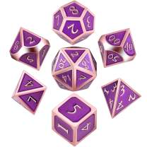 7 Pieces Metal Dices Set DND Game Polyhedral Solid Metal D&D Dice Set with Storage Bag and Zinc Alloy with Enamel for Role Playing Game Dungeons and Dragons, Math Teaching (Rose Gold Edge Purple)