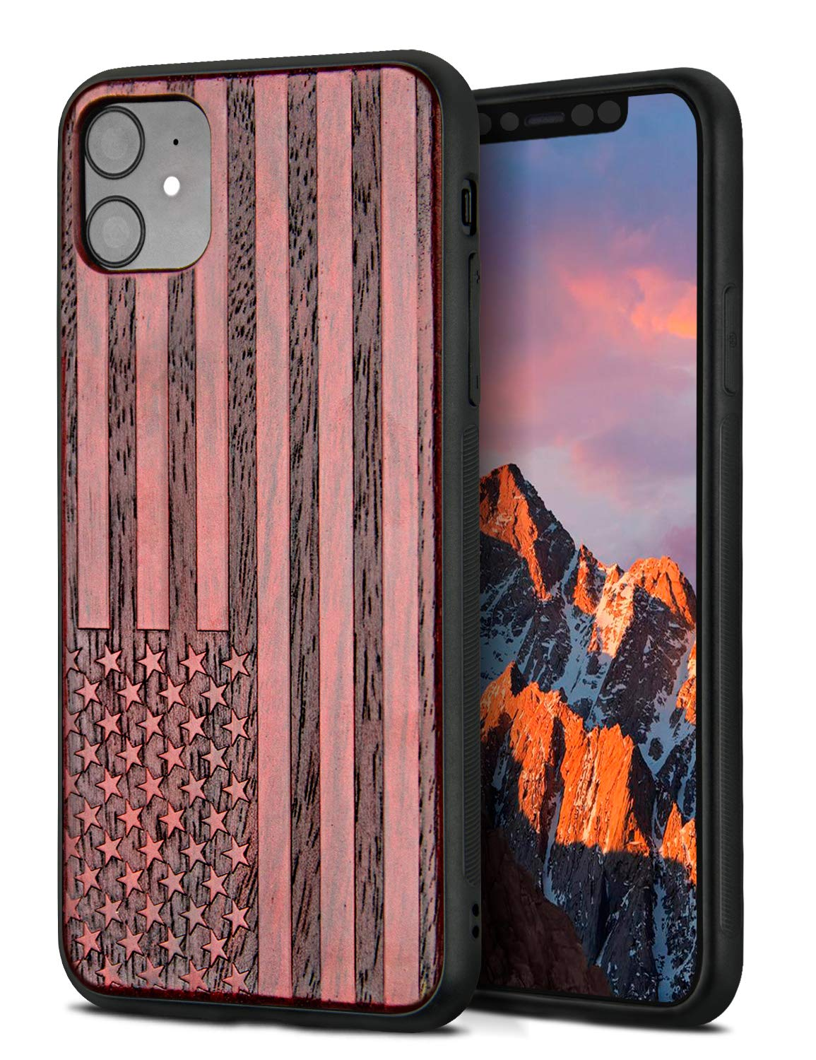 YFWOOD Compatible for iPhone 11 Case 6.1 inch, Unique Wood Shockproof Drop Proof Bumper Protection Cover for iPhone 11 (Banner)