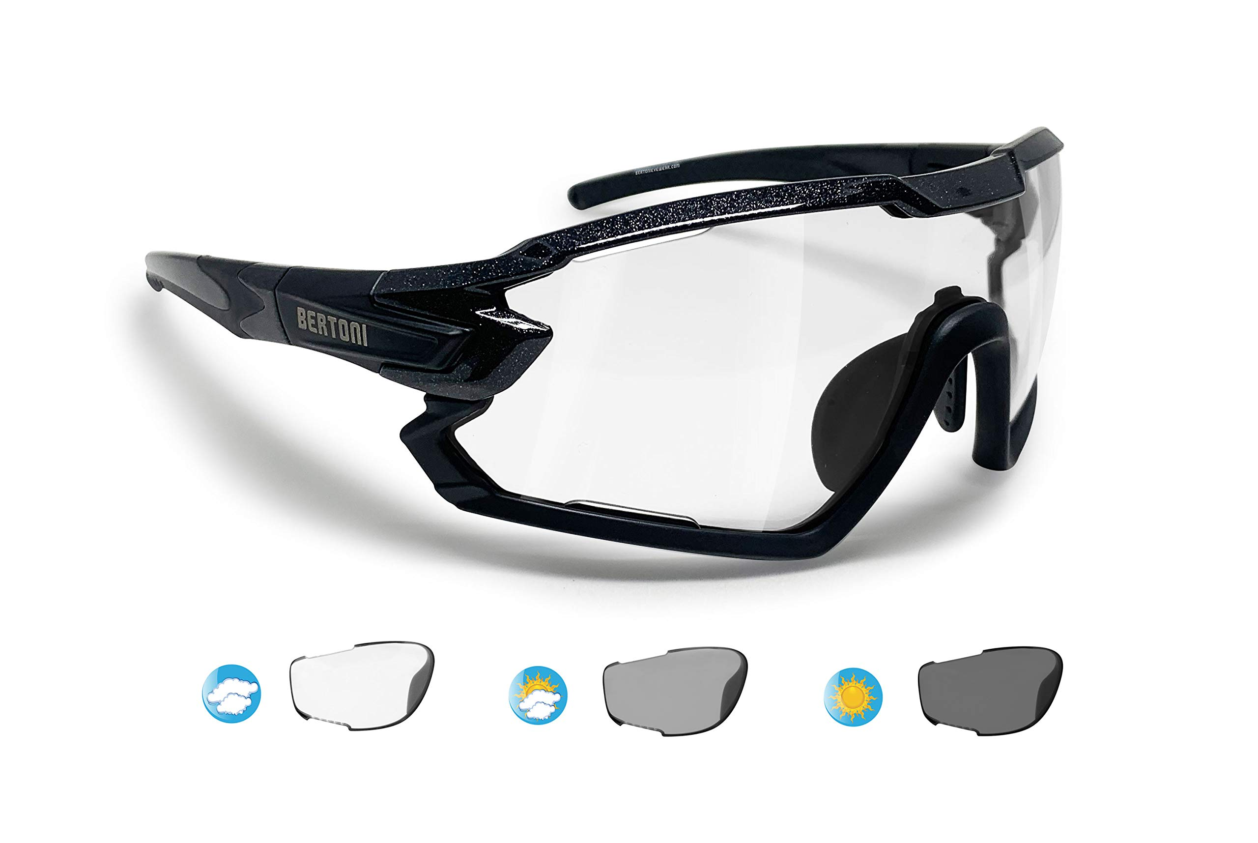 Bertoni Sport Sunglasses Polarized Photochromic Cycling MTB Running Ski Golf Removable Sport Prescription RX Carrier Included mod. Quasar