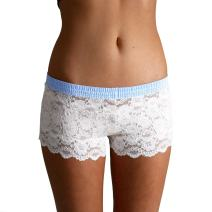 IVORY LACE BOXERS WITH LIGHT BLUE DOT FOXERS BAND-XL,Ivory Lace/Light Blue,X-Large