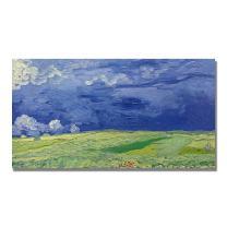 Wheatfields Under Thundercloud by Vincent van Gogh, 12x24-Inch Canvas Wall Art