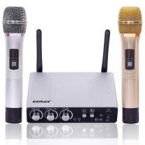 EXMAX K28 Wireless Microphone System,Dual Channels UHF Metal Handheld Mic Set with Bluetooth for Speech Conference Outdoor KTV Home Party Wedding