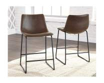 Signature Design by Ashley Centiar Upholstered Barstool (4 Pack (Brown), Pub)