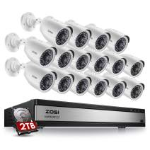 ZOSI 16 Channel Security Camera System for Home,1080N 16 Channel TVI DVR Recorder with (16) 720p Night Vision Weatherproof  Surveillance CCTV Camera Outdoor/Indoor (2TB Hard Drive Built-in)
