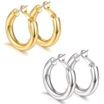 sovesi Gold Hoop Earrings for Women, 2 Pairs 14K Real Gold Plated Lightweight Silver Chunky Hoop Earrings Set Gift