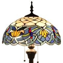 Tiffany Style Floor Standing Lamp 64 Inch Tall Blue Lotus Stained Glass Shade 2 Light Antique Base for Bedroom Living Room Reading Lighting Coffee Table S220 WERFACTORY