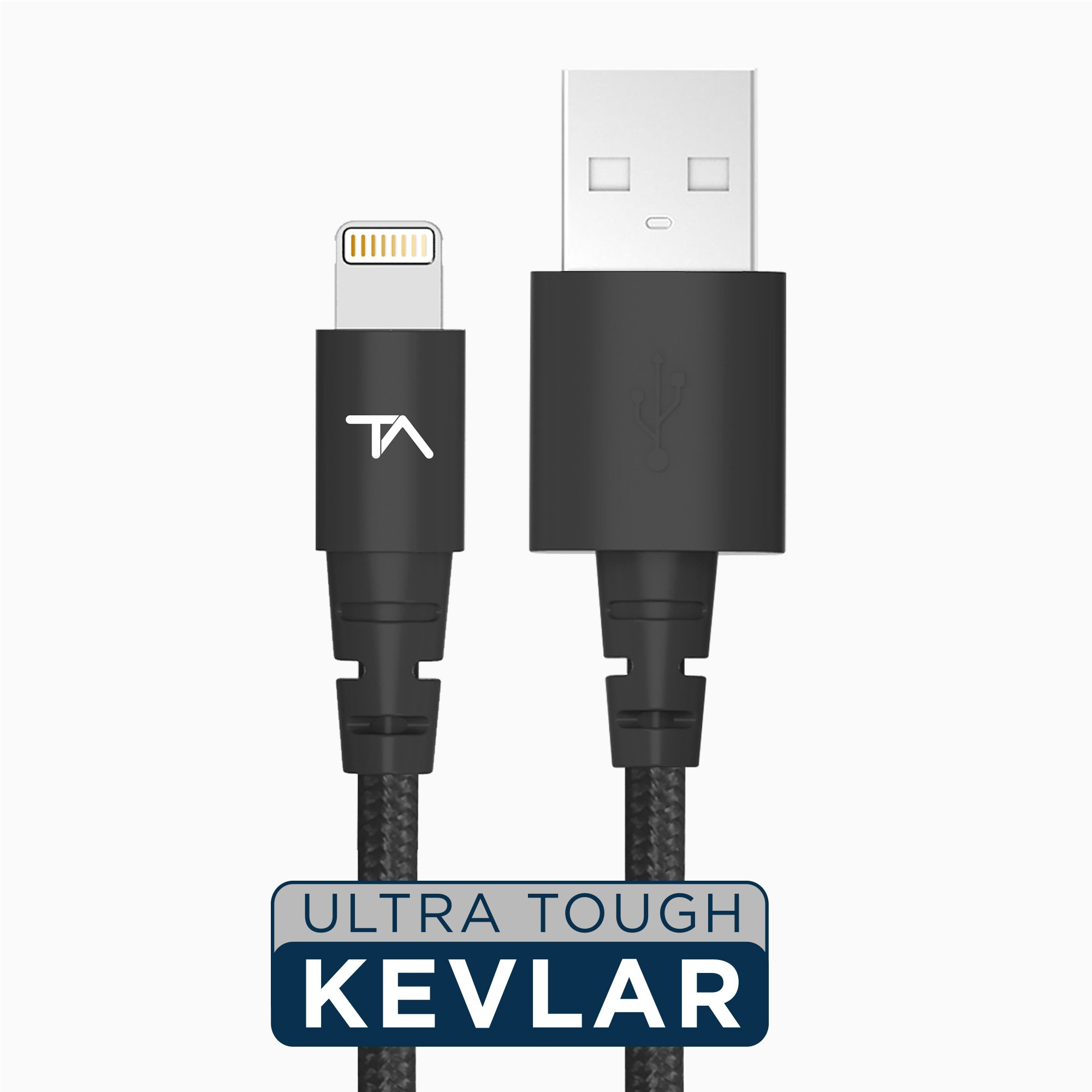 Tech Armor Apple MFi Certified Lightning to USB Sync/Charge Cable Compatible with iPhone or iPad, Made with Kevlar, Tough-Braided Extra-Strong Jacket, Black, 6 Feet