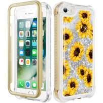 Caka iPhone SE Case (2016), iPhone 5 5S Glitter Full Body Coverage Case with Screen Protector Bling Sparkle Floating Liquid Girls Girly Women Cute Protective Case for iPhone 5 5S SE (Sunflower)