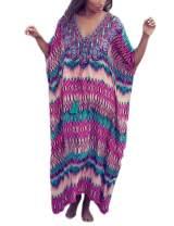 Ailunsnika Women Plus Size Batwing Sleeve Bikini Bathing Suit Cover Up Beachwear Loose Print Long Dress