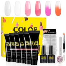 Colorfarm Poly Nail Gel Kit Builder Gel Polygel Nail Kit Enhancement Trial Temperature Color Changing Nail Technician French Kit 6 Colors All-in-One Professional French Kit
