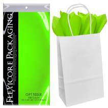 Flexicore Packaging White Kraft Paper Gift Bags & Lime Green Gift Wrap Tissue Paper Size: 5.25 Inch X 3.5 Inch X 8.5 Inch   Count: 50 Bags   Color: Lime Green