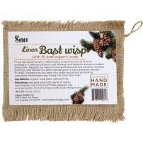 Sayan Linen Bast Wisp with Fir & Organic Soap - All Natural and Handmade Like Sponge or Loofah, Wash Cloth for Men, Women and Baby Bath - Clean and Detox, Healthy Skin, Exfoliation and Rejuvenation