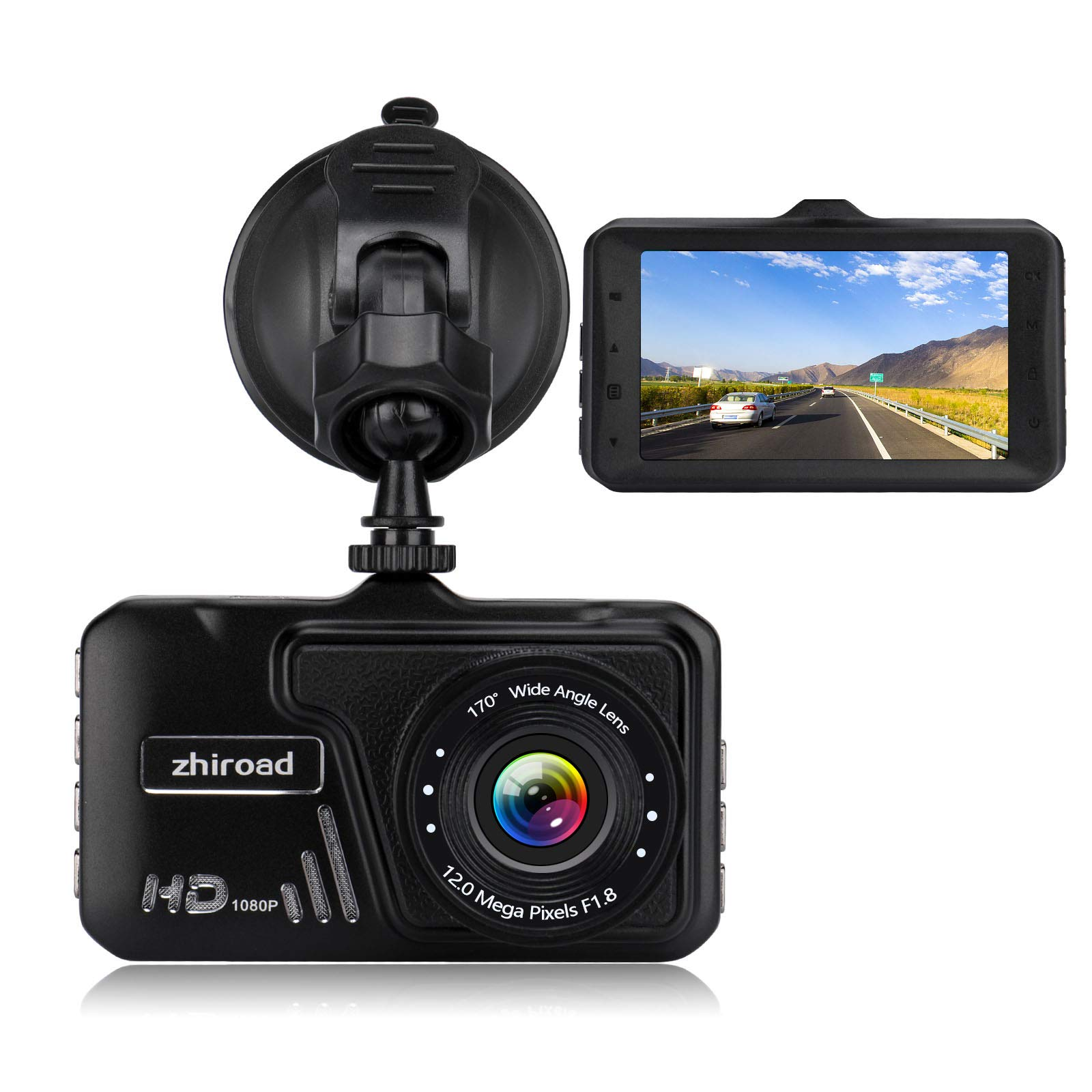"""Dash Cam,zhiroad 1080P FHD 3"""" LCD Screen Car Camera Car On-Dash Video Recorder Dashboard Camera with 170°Wide Angle Night Vision G-Sensor Motion Detection Parking Monitor Loop Recording"""