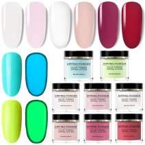 Dip Powder Nail Kit, 6 Colors Dipping Powder System Nail Starter Kit With 2 Colors Glow in The Dark Powder Set
