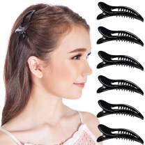 RC ROCHE ORNAMENT 6 Pcs Womens Classic Side Slide Jaw Flat No Slip Opening Eyelet Inner Teeth Alligator Hair Clip Barrette Beauty Accessory Premium Plastic Clamp Clips, Small Black