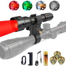 UniqueFire T20 Red Predator Light 38mm Convex Lens Zoom Focus Flashlight LED Torch with Dual Control Remote Pressure Switch, USB Charger, 18650 Battery, Scope Mount and 3 LED Pills Big Kit Set
