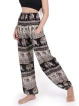 Lveberw Women Boho Floral Elephant Print Hippie Smocked Waist Harem Palazzo Yoga Lounge Bali Miracle Aztec Casual Pants