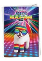 Let's Boo-gie - Humorous Dog Happy Birthday Card with Envelope (4.63 x 6.75 Inch) - Stationery for Birthdays, Retro Disco Party Dog - Cute Animal Bday Appreciation Card for Kids, Adults C6868BDG