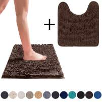 DEARTOWN Non-Slip Shaggy Bathroom Rug,Soft Microfibers Chenille Bath Mat with Water Absorbent, Machine Washable(2 Pieces:20x32+20x24U,Brown)