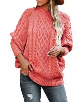 Womens Turtleneck Oversized Sweaters Plus Size Batwing Long Sleeve Chunky Cable Knit Pullover Jumper Tops