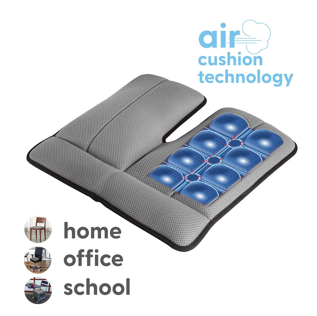 Dr. air Seat Cushion, Non-Slip Orthopedic Support Cushion, Back, Sciatica, Coccyx and Tailbone Pain, Home, Office, School, Kitchen, Car(Grey)
